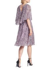 Halston Heritage Marble Print Popover Pleated Dress