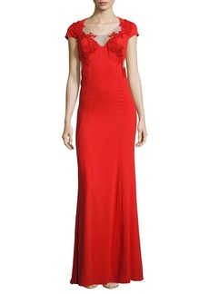 Halston Heritage Marchesa Embroidered Illusion Gown