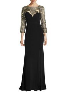 Halston Heritage Marchesa Embroidered Illusion Gown