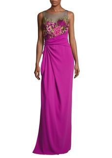Halston Heritage Marchesa Floral Embroidered Sleeveless Gown
