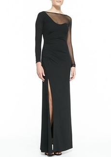 Halston Heritage Mesh Inset Long-Sleeve Gown