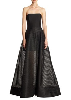 Halston Heritage Paneled Mesh Strapless Gown