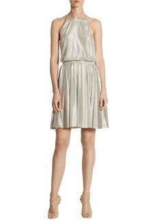Halston Heritage Metallic Blouson Dress