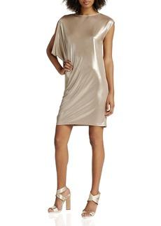 HALSTON HERITAGE Metallic Draped Dress