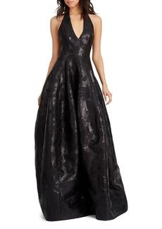 HALSTON HERITAGE Metallic Floral Jacquard Gown