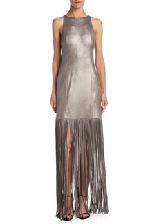 Halston Heritage Metallic Fringed Gown