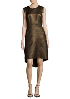 Halston Heritage Metallic Hi-Lo Dress
