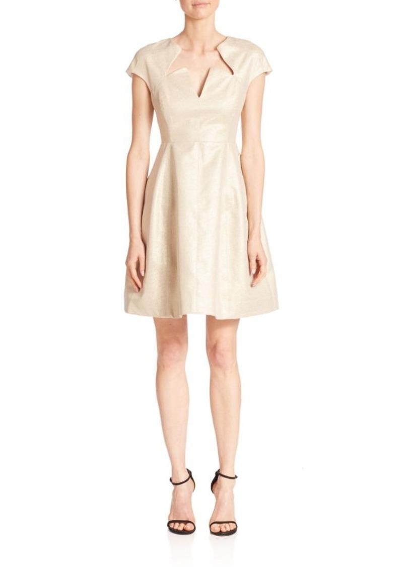 Halston Heritage Metallic Jacquard Fit-&-Flare Dress