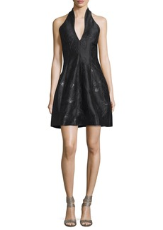 Halston Heritage Metallic Jacquard Halter Dress