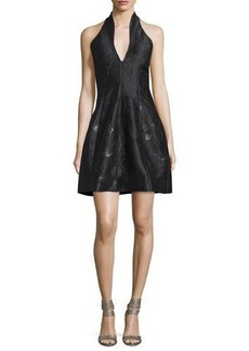 Halston Heritage Metallic Jacquard Halter Dress
