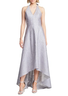 Halston Heritage Metallic Jacquard Halter Neck High/Low Ballgown