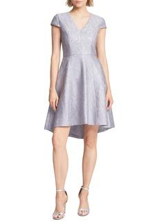 Halston Heritage Metallic Jacquard High/Low Cocktail Dress