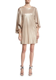Halston Heritage Metallic Jersey Cape-Sleeve Dress