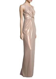 Halston Heritage Metallic Jersey Cutout Gown