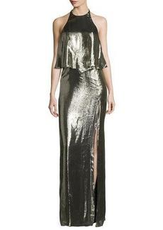Halston Heritage Metallic Jersey Halter Popover Gown