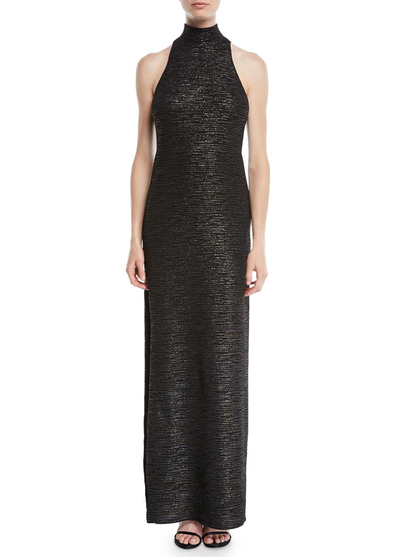 Halston Heritage Metallic Knit Gown w/ Mock Neck