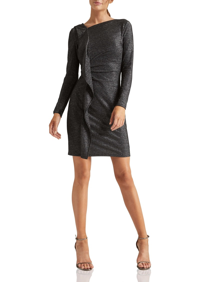 Halston Heritage Metallic Knit Long Sleeve Cocktail Dress