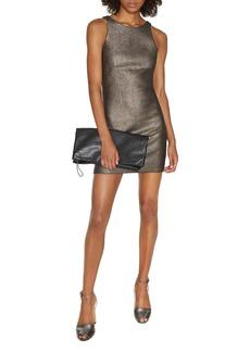 HALSTON HERITAGE Metallic Knit Mini Dress