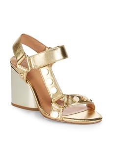Halston Heritage Metallic Leather Ankle Strap Sandals