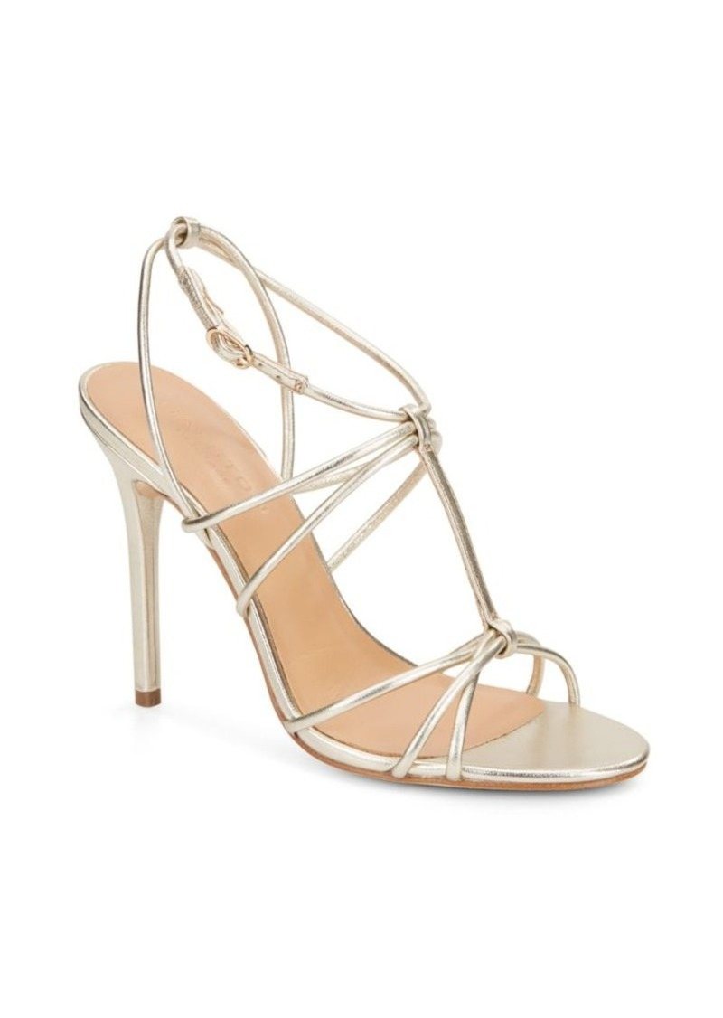 b3c6763cc9d Metallic Leather T-Strap Sandals