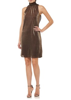 Halston Heritage Metallic Mock Neck Cocktail Dress