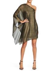 Halston Heritage Metallic One-Shoulder Minidress