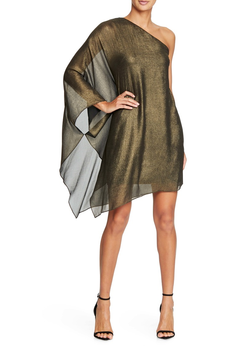 Halston Heritage Metallic One-Shoulder Minidress