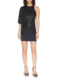 HALSTON HERITAGE Metallic One-Sleeve Dress