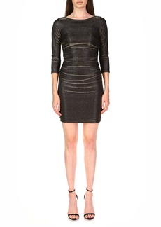Halston Heritage Metallic Ruched Cocktail Dress