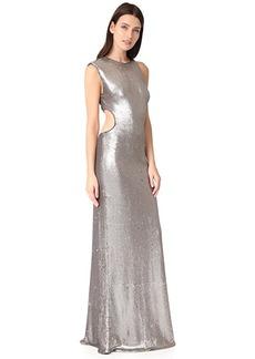 Halston Heritage Metallic Sequin Gown