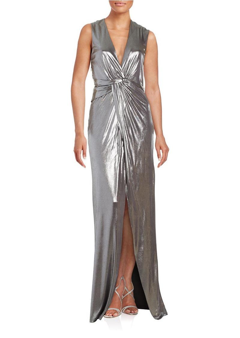 HALSTON HERITAGE Metallic Sleeveless Gown