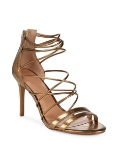 Halston Heritage Metallic Strappy Leather Sandals
