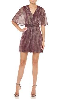 Halston Heritage Metallic Stripe Capelet Cocktail Dress