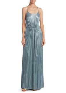 Halston Heritage Metallic T-Back Dress