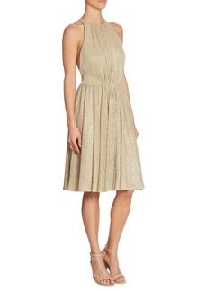 Halston Heritage Metallic Textured Dress