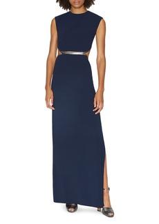 HALSTON HERITAGE Metallic-Trim Cutout Gown