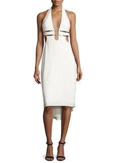 Halston Heritage Metallic-Trim Stretch Crepe Halter Dress
