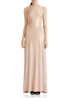 HALSTON HERITAGE Metallic Twist-Back Gown