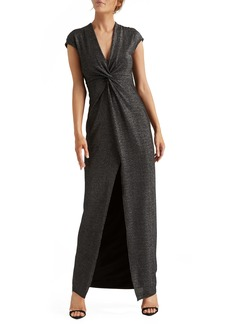 Halston Heritage Metallic Twist Front Jersey Gown