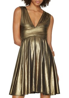 HALSTON HERITAGE Metallic V-Neck Dress - 100% Exclusive