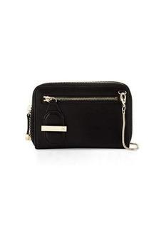 Halston Heritage Mini Double-Zip Leather Shoulder Bag