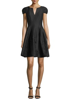 Halston Heritage Notched-Neck Embroidered Cocktail Dress
