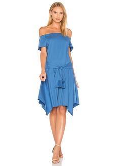 Halston Heritage Off Shoulder Dress in Blue. - size 0 (also in 2,4,6)