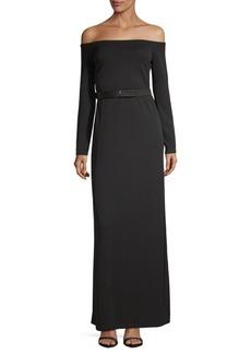 Halston Heritage Off Shoulder Floor-Length Dress