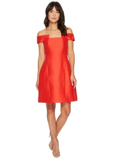 Halston Heritage Off Shoulder Geo Neck Silk Faille Dress