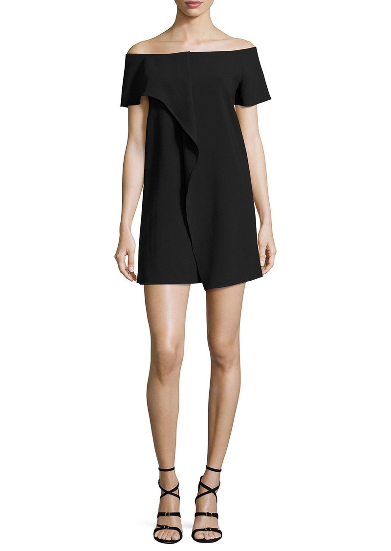 Halston Heritage Off-the-Shoulder Asymmetric Draped Dress
