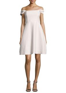Halston Heritage Off-the-Shoulder Faille Cocktail Dress