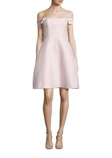 Halston Heritage Off-The-Shoulder Faille Dress