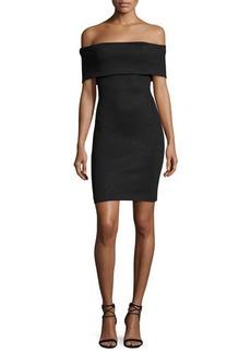 Halston Heritage Off-the-Shoulder Fitted Shimmer Knit Cocktail Dress