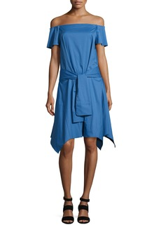 Halston Heritage Off-the-Shoulder Handkerchief-Hem Dress w/ Tie  Coastal Blue